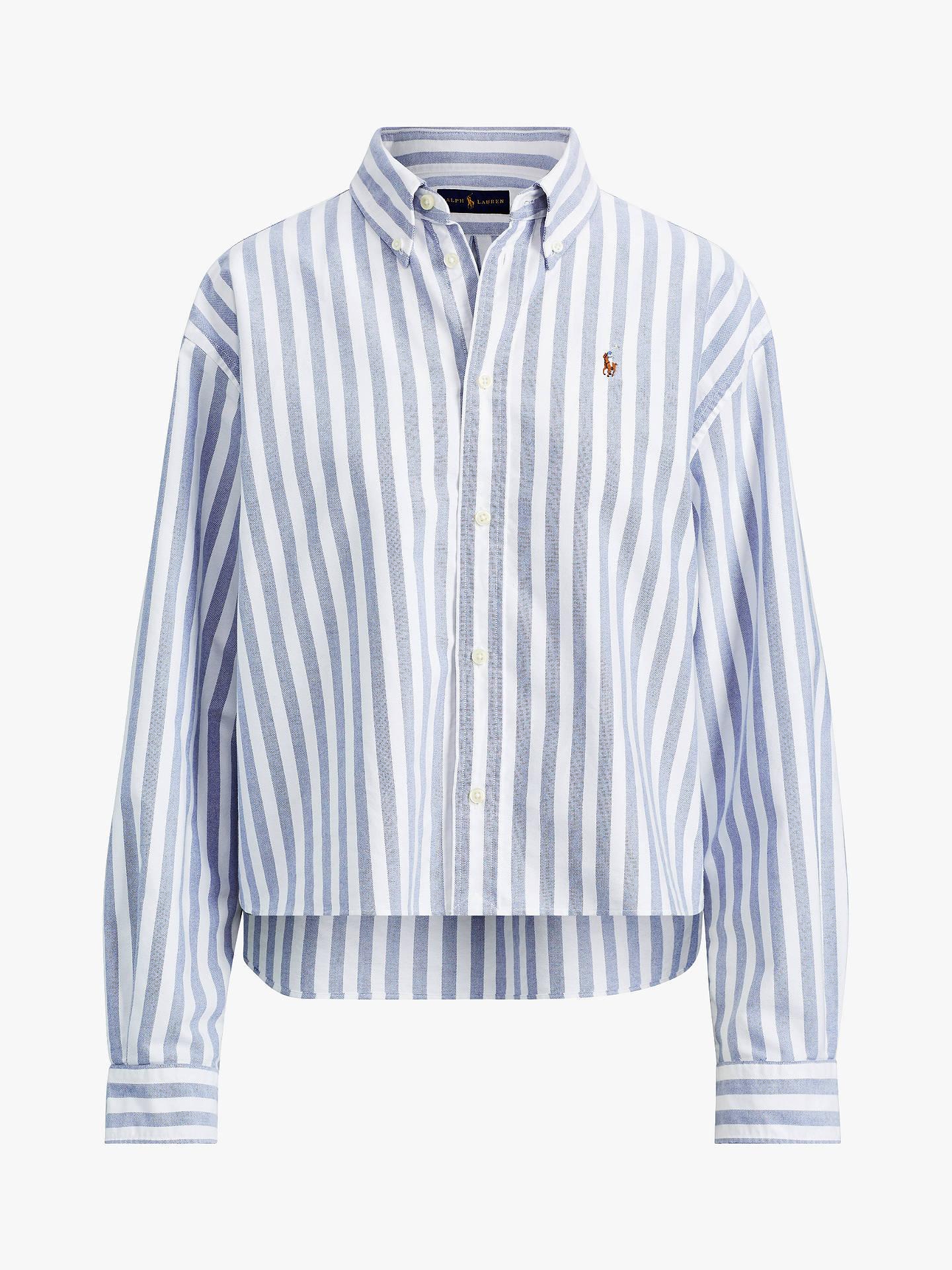 c267eeeafa ... Buy Polo Ralph Lauren Wide Stripe Cropped Oxford Shirt, White/Blue, XS  Online ...