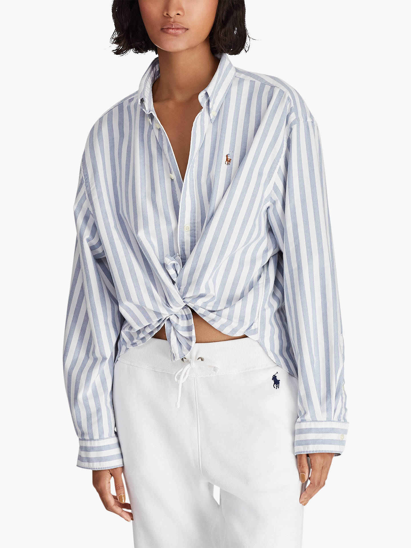06d7fa1a07 Buy Polo Ralph Lauren Wide Stripe Cropped Oxford Shirt, White/Blue, XS  Online ...
