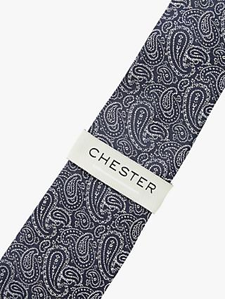 Chester by Chester Barrie Paisley Silk Tie, Navy