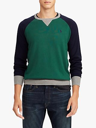 Polo Ralph Lauren Regular Fit Colour Block Jumper, Forest Green/Navy/Grey Heather
