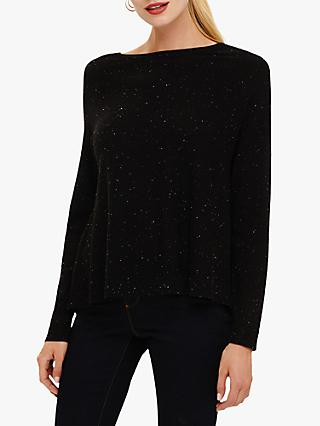 Phase Eight Terza Swing Knit Jumper, Black