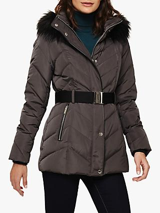 Phase Eight Chandra Faux Fur Hood Puffer Jacket, Slate