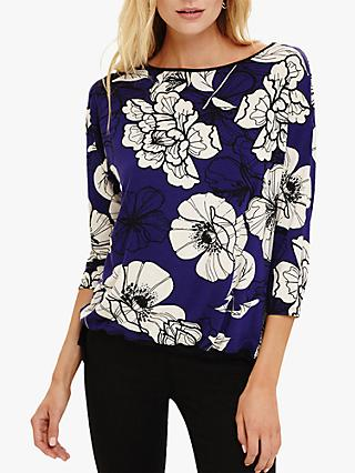 Phase Eight Ianthe Floral Illustration Tie Hem Top, Violet/Cream