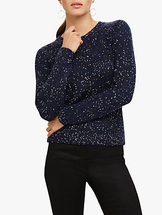 Phase Eight Kennedy Sequin Embellished Knit Jumper, Navy