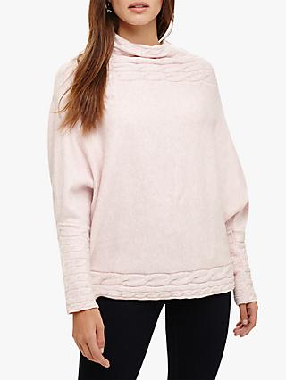 Phase Eight Corine Cable Knit Detail Jumper, Soft Pink