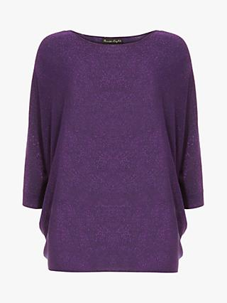 Phase Eight Becca Shimmer Batwing Jumper, Purple