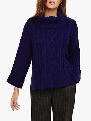 Phase Eight Eleonora Chunky Cable Knit Jumper, Russian Violet