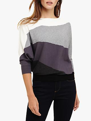 Phase Eight Lorrie Chunky Stripe Knit Jumper, Grey Multi