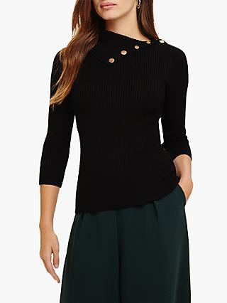 Phase Eight Rosaline Asymmetric Button Neck Knit Jumper, Black