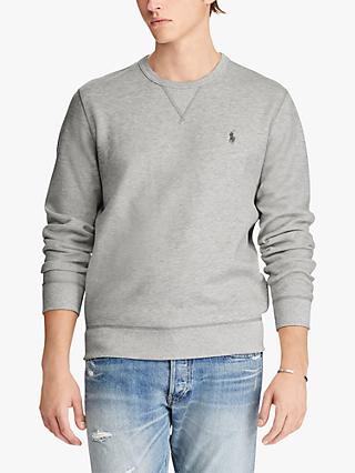 f79433b0a Polo Ralph Lauren Double Knit Sweatshirt, Light Sport Heather/Polo Black