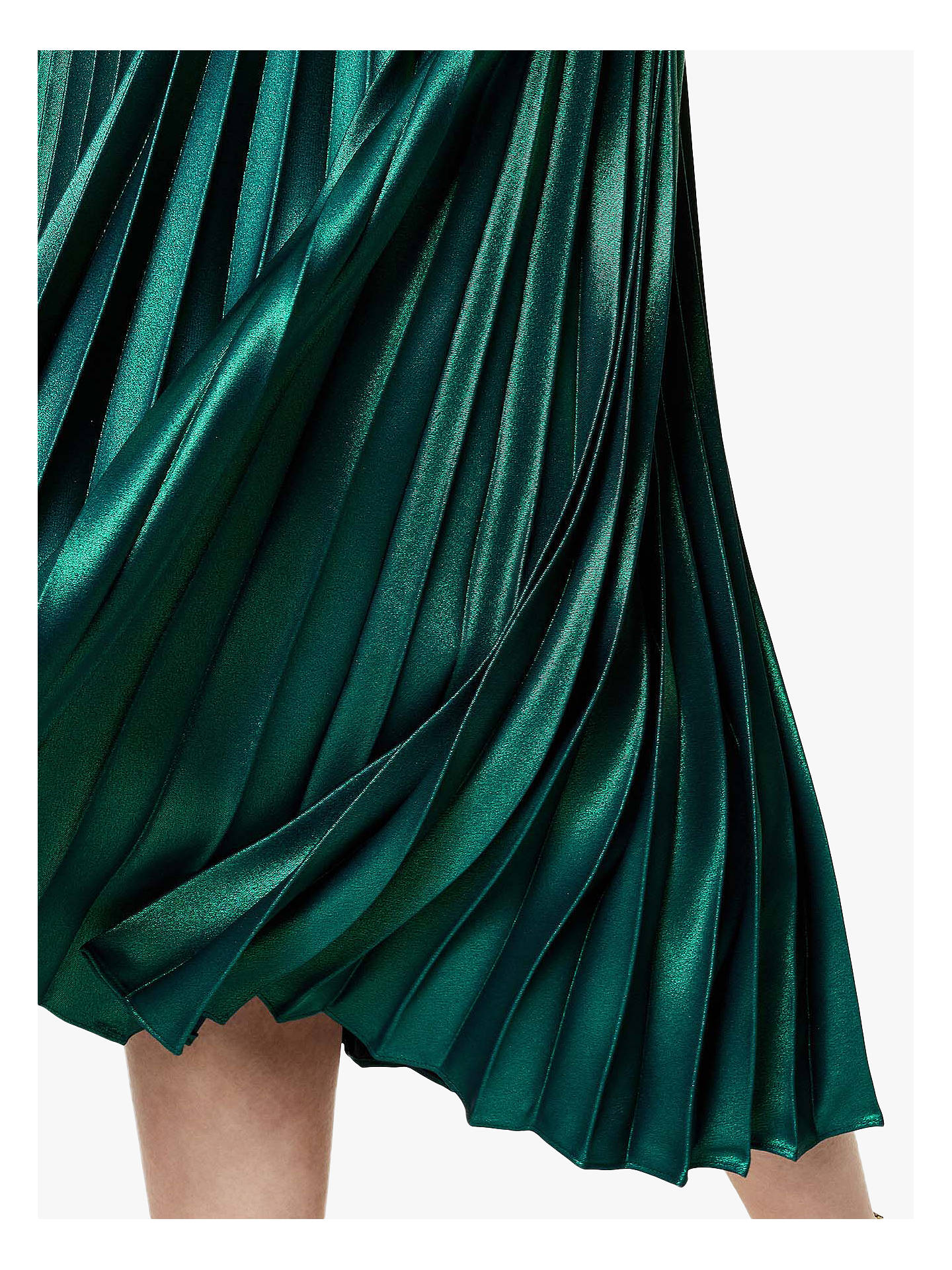 Karen Millen Metallic Pleated Skirt, Dark Green at John ...