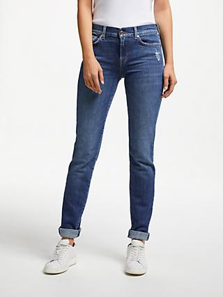 7 For All Mankind Roxanne Mid Rise Skinny Jeans, Dark Indigo