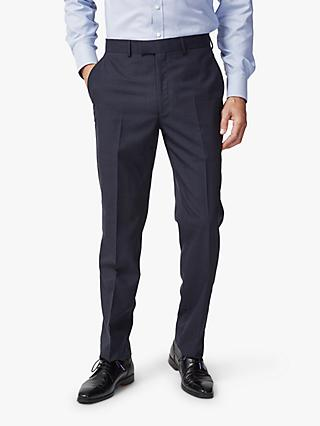 Chester by Chester Barrie Traveller Wool Subtle Check Tailored Suit Trousers, Navy