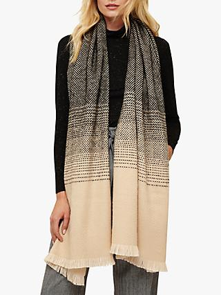 Phase Eight Aletta Ombre Scarf, Black/Camel