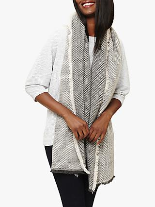 Phase Eight Rochelle Mono Scarf, Grey/Ivory