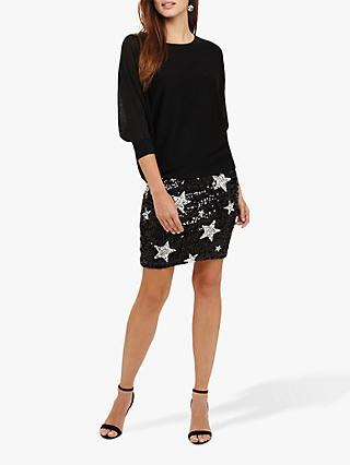 Phase Eight Geonna Star Sequin Detail Dress, Black/Silver