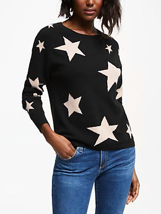 Cocoa Cashmere All Over Star Jumper, Black/Oatmeal