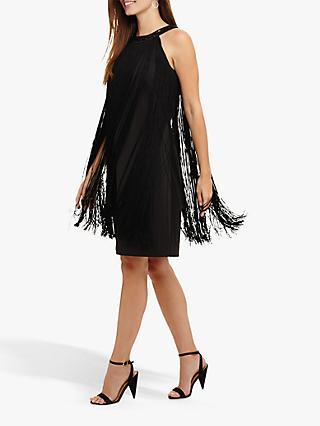 Phase Eight Katie Fringe Dress, Black