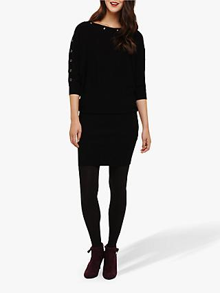 Phase Eight Becca Eyelet Batwing Dress, Black/Gunmetal