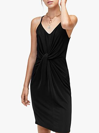 Warehouse Twisted Front Cami Dress, Black