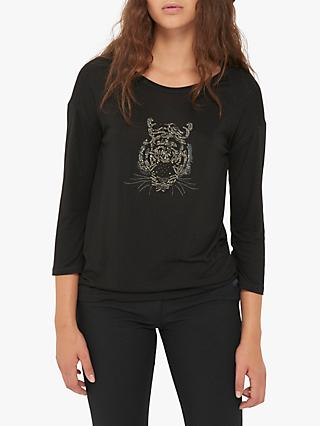 Gerard Darel Nina Embroidered Tiger Top, Black