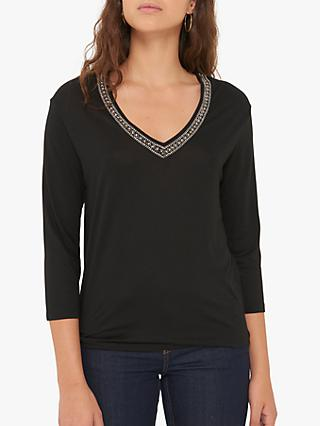 Gerard Darel Nicole Embroidered Pearl Top, Black