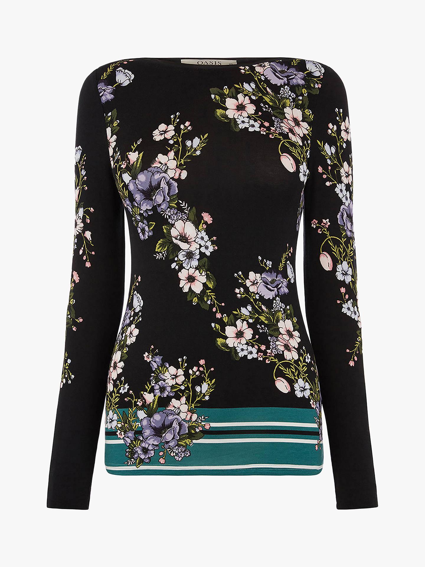 adec439dcf99 ... Buy Oasis Frieda Long Sleeve Top, Black Multi, S Online at  johnlewis.com ...