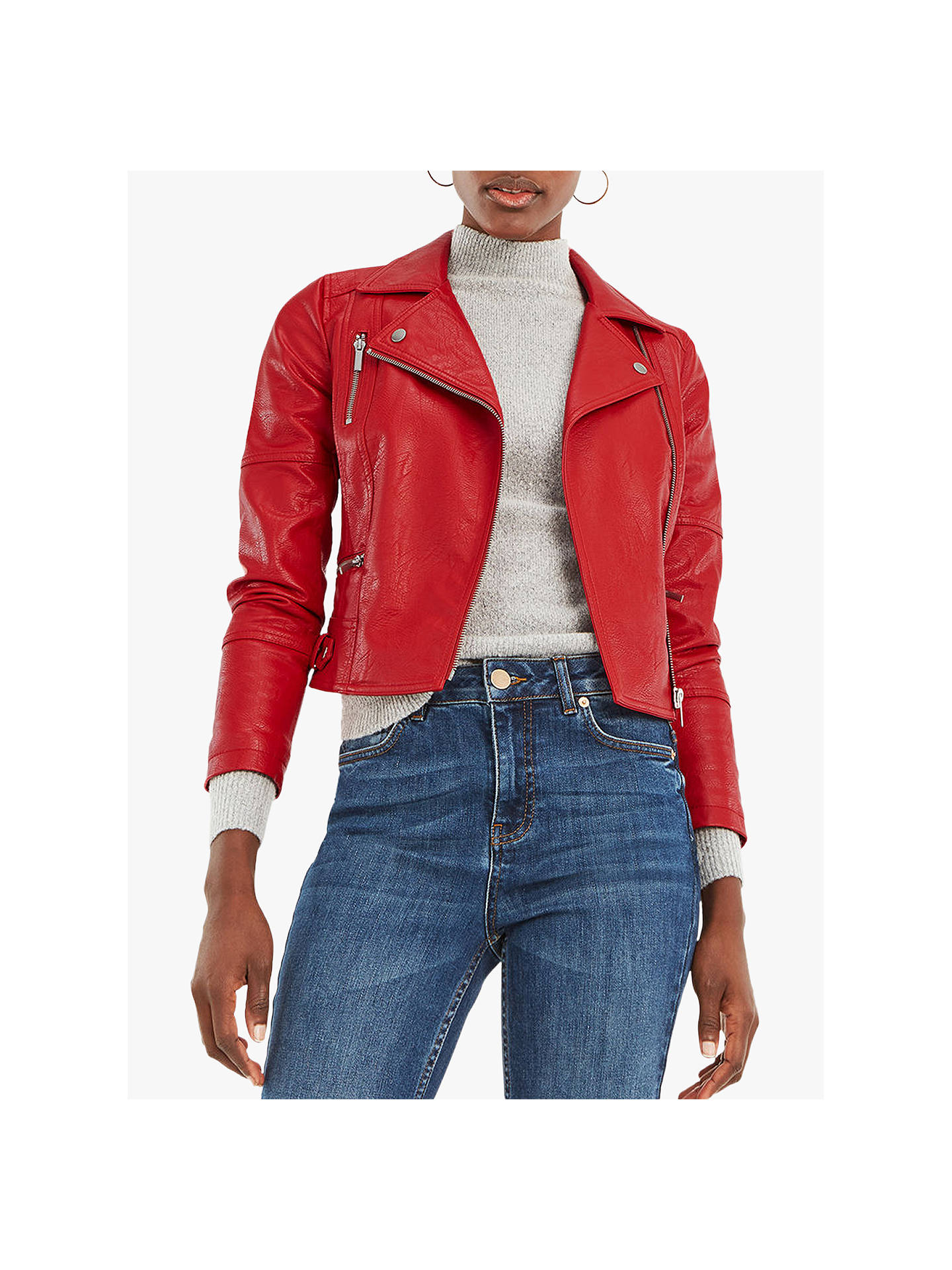 40edc8a1a80c Buy Oasis Faux Leather Biker Jacket, Mid Red, S Online at johnlewis.com ...