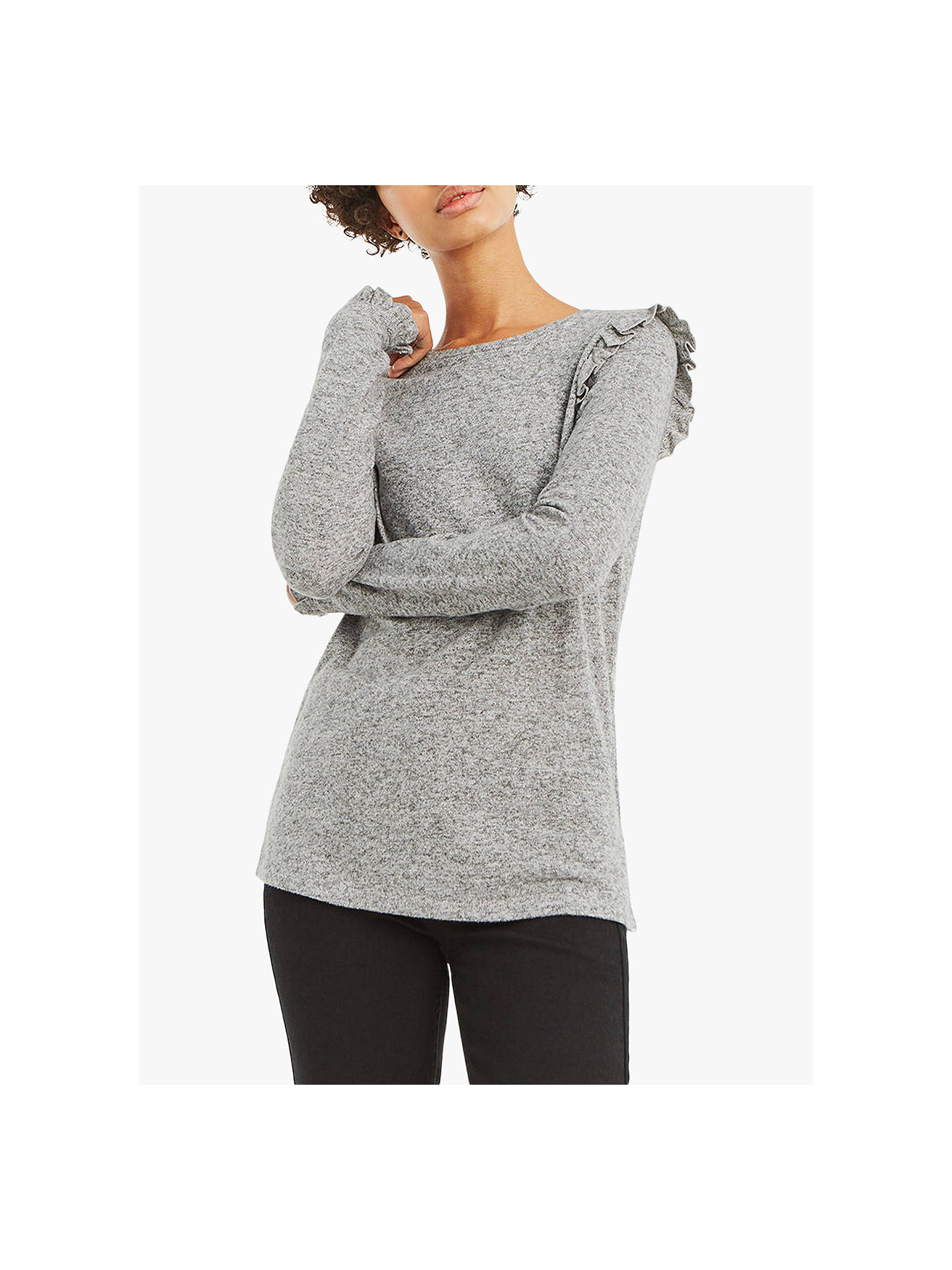 f5edf76358ff Buy Oasis Frill Shoulder Long Knit Jumper, Mid Grey, XS Online at johnlewis.