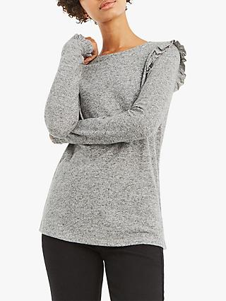 Oasis Frill Shoulder Long Knit Jumper, Mid Grey