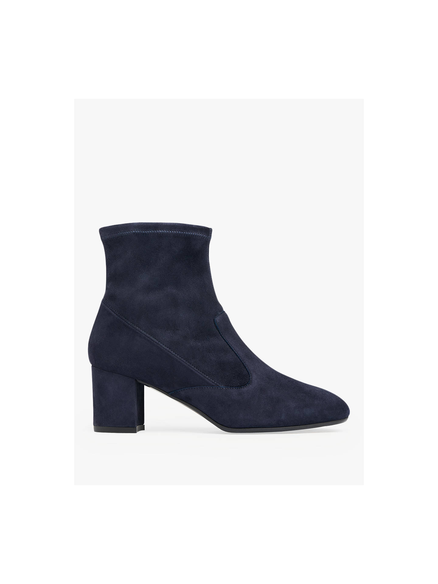 3f7647602 Buy L.K.Bennett Alexis Block Heel Sock Ankle Boots, Navy Leather, 5 Online  at ...