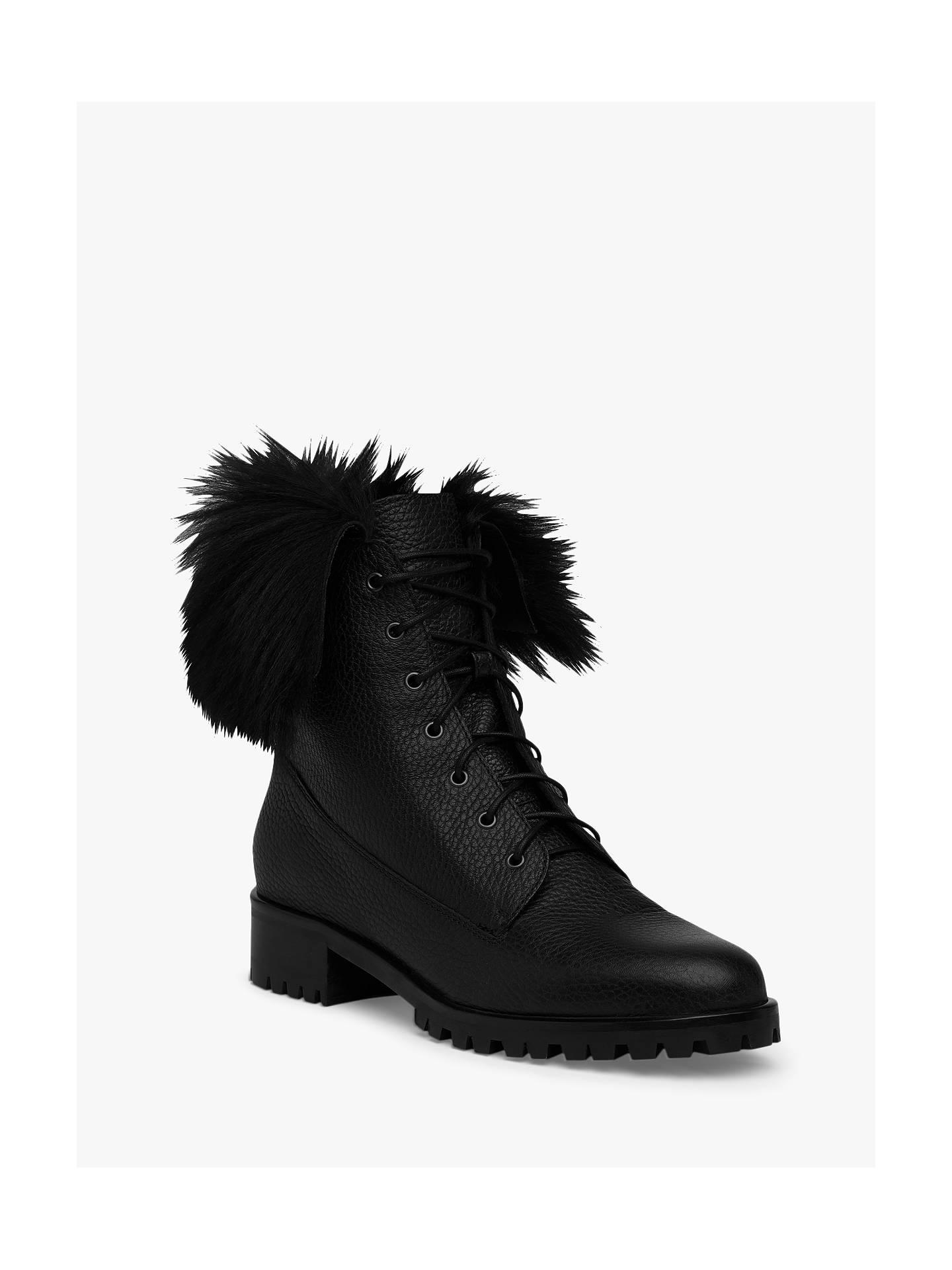 da96213bf L.K.Bennett Delli Faux Fur Trim Ankle Lace Up Boots, Black at John ...