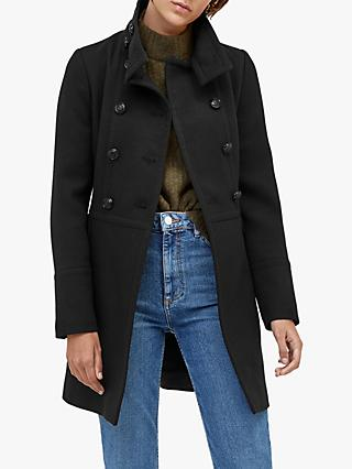 Warehouse Funnel Neck Pea Coat, Black