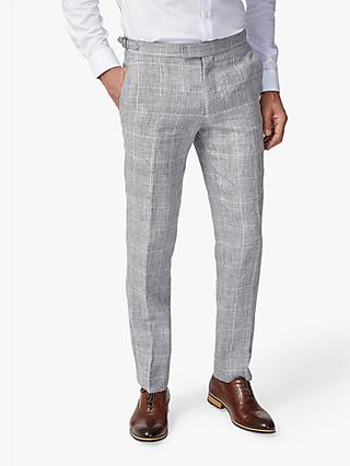 Richard James Mayfair Linen Check Slim Fit Suit Trousers, Grey