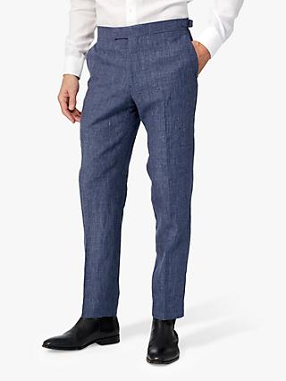Richard James Mayfair Linen Slim Fit Suit Trousers, Navy