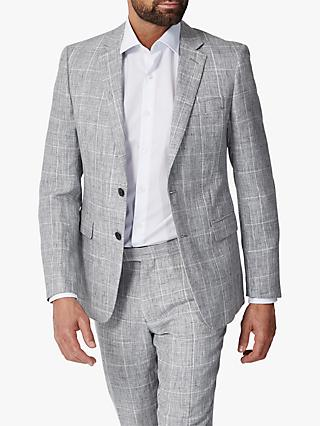 Richard James Mayfair Linen Check Slim Fit Suit Jacket, Grey