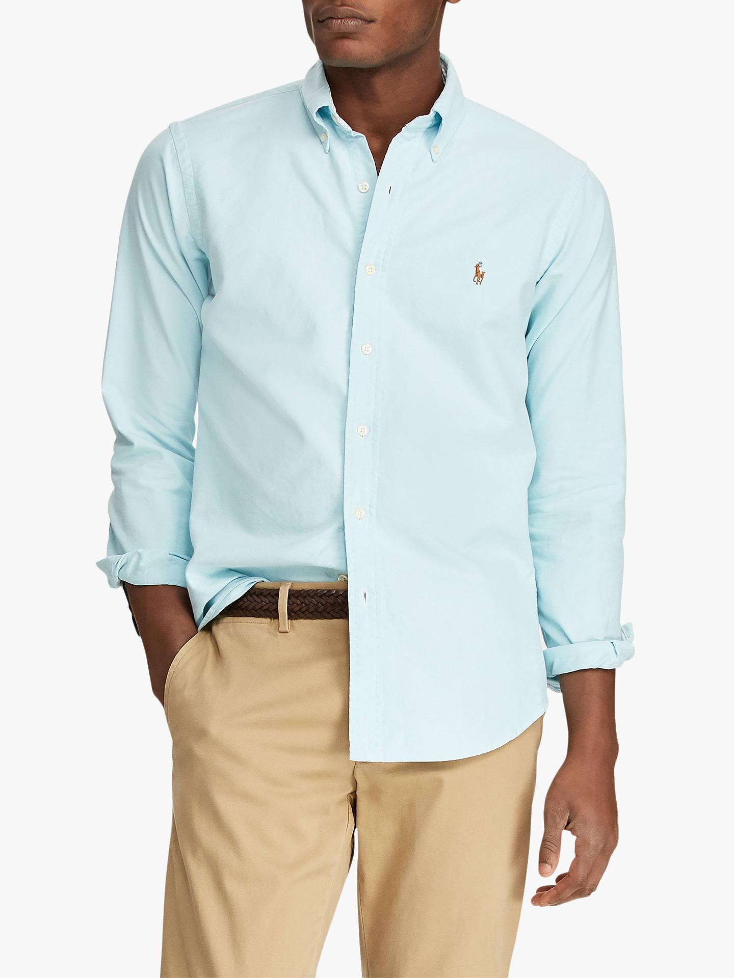 92fec96a Buy Polo Ralph Lauren Classic Fit Plaid Oxford Shirt, Aegean Blue, L Online  at ...