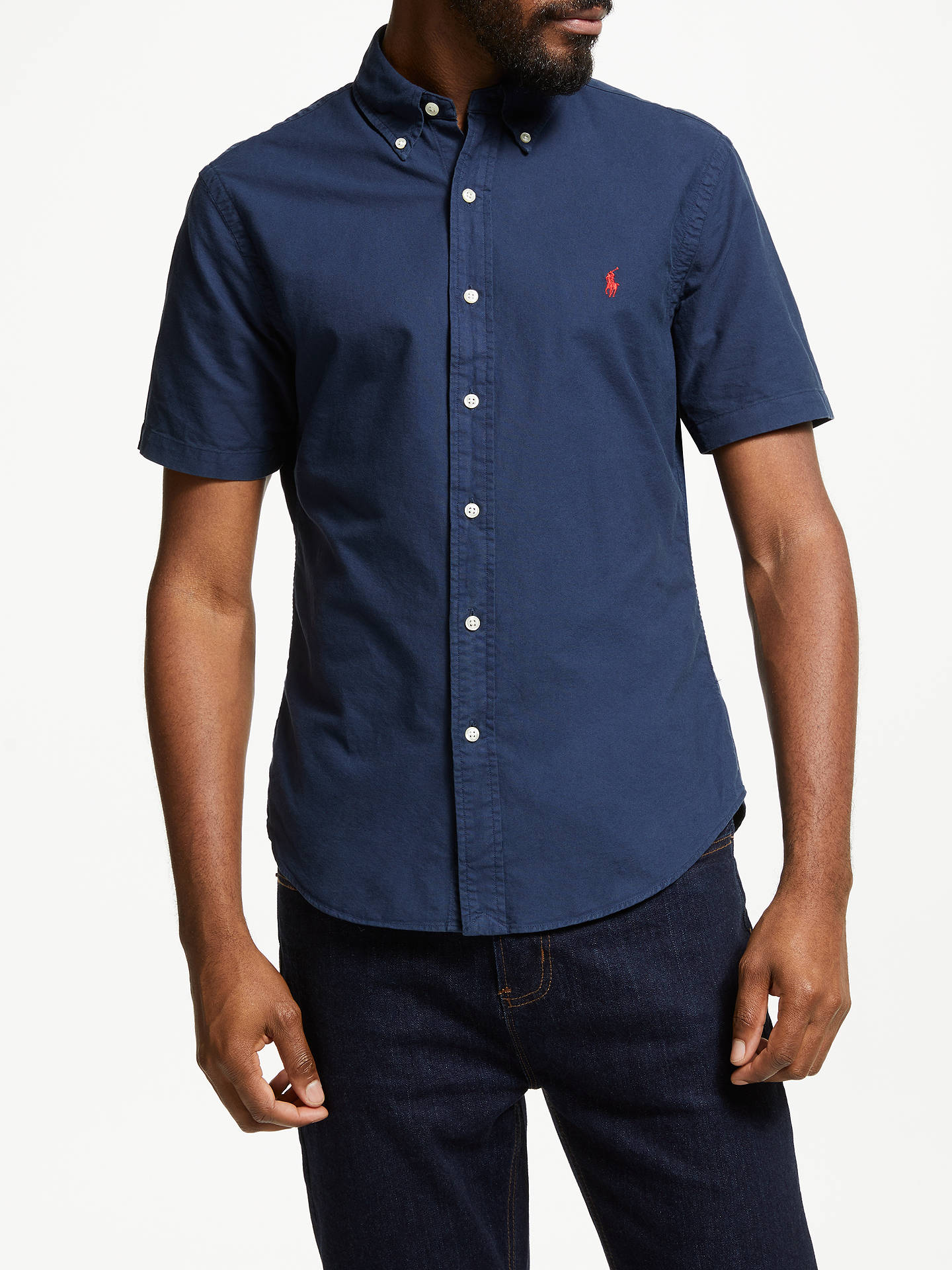 8db5a98564 Polo Ralph Lauren Short Sleeve Slim Fit Shirt, Navy at John Lewis ...