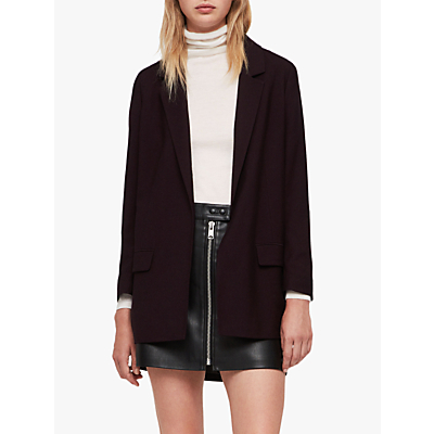 AllSaints Aleida Long Sleeve Blazer, Bordeaux Red