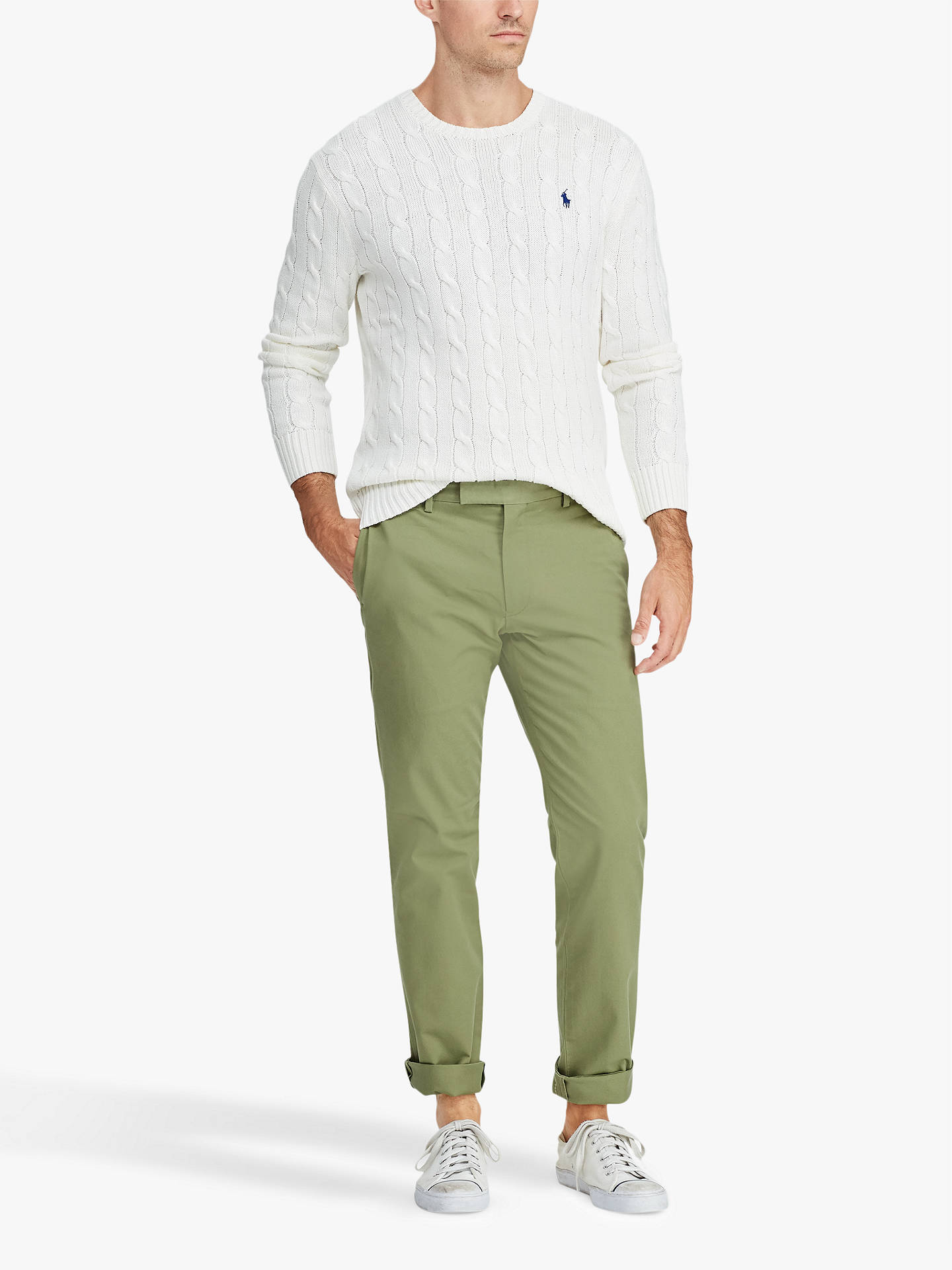 recognized brands order online detailed images Polo Ralph Lauren Flat Pant Slim Chino, Spanish Green at ...