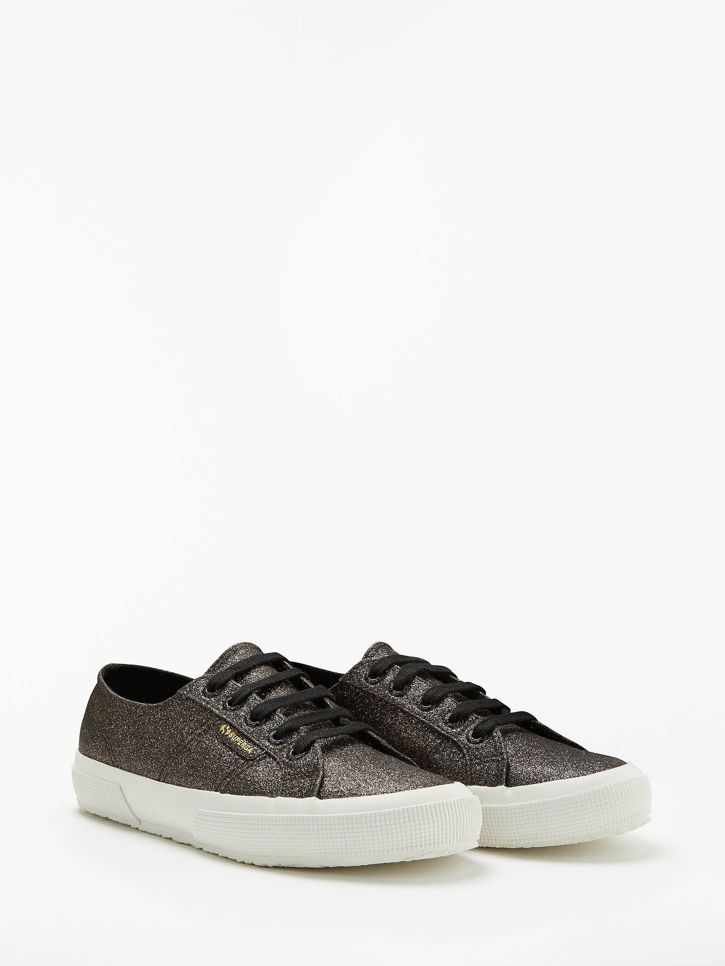 Buy Superga 2750 Mirco Glitter Lace Up Trainers, Black, 6.5 Online at johnlewis.com