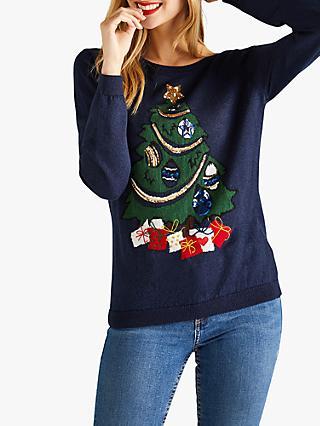 2cc028f9f Yumi Embroidered Christmas Tree Jumper, Dark Navy