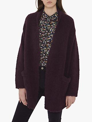 Gerard Darel Textured Courtney Knitted Cardigan, Purple Pink
