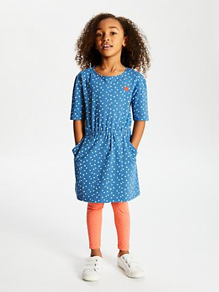 John Lewis & Partners Girls' Heart Print Dress, Blue