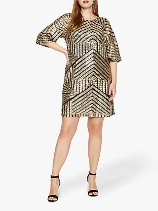 Studio 8 Gillian Chevron Sequin Detail Tunic Dress, Black/Gold