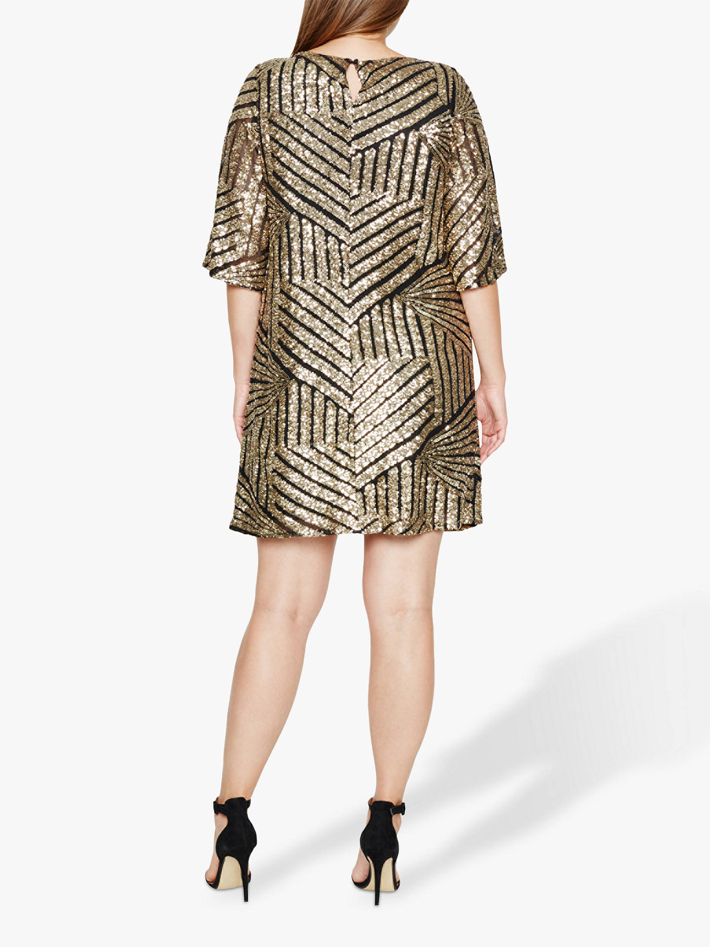 Buy Studio 8 Gillian Chevron Sequin Detail Tunic Dress, Black/Gold, 14 Online at johnlewis.com
