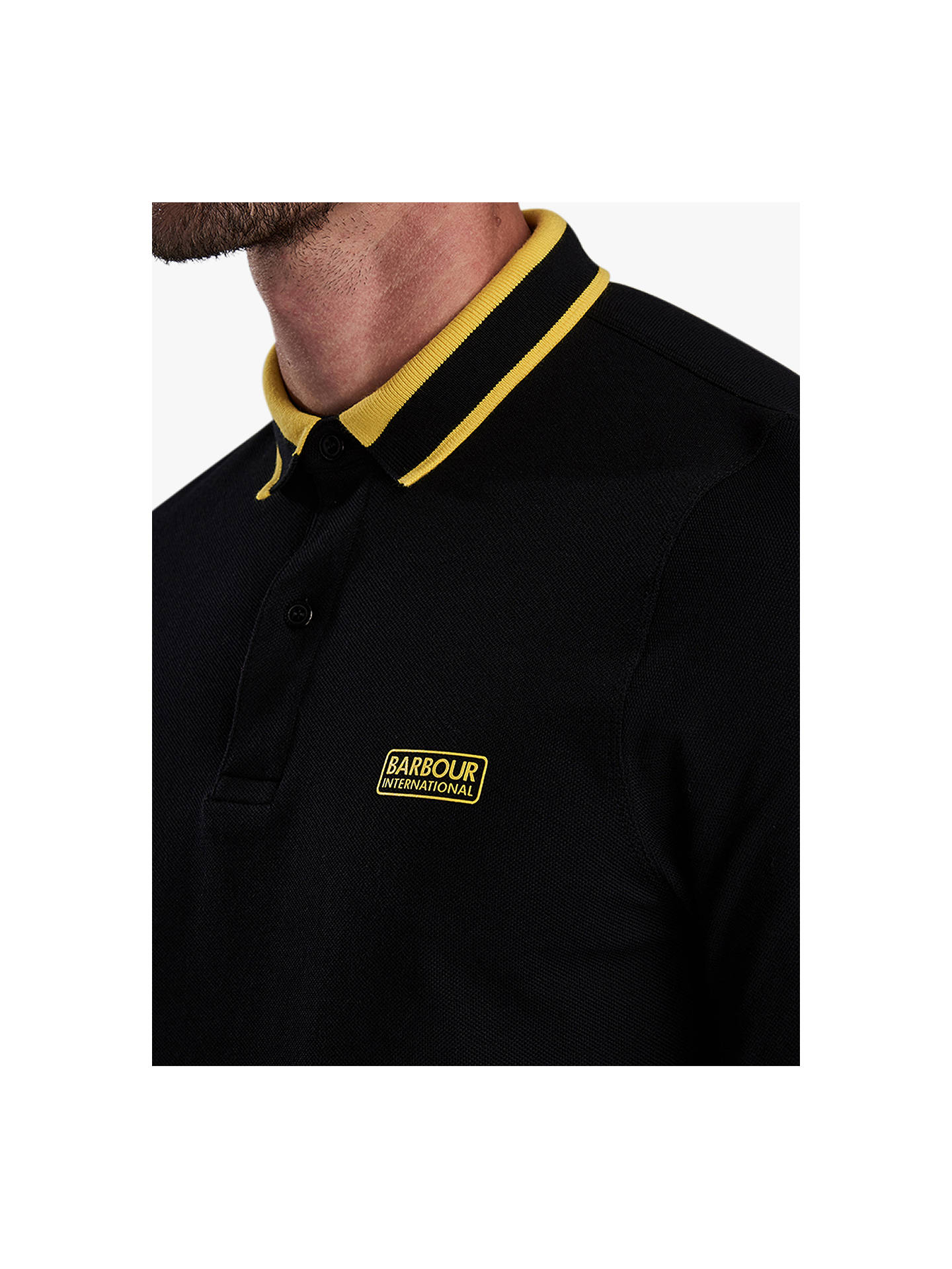 BuyBarbour International Spark Long Sleeve Tipped Collar Polo Shirt, Black, M Online at johnlewis.com
