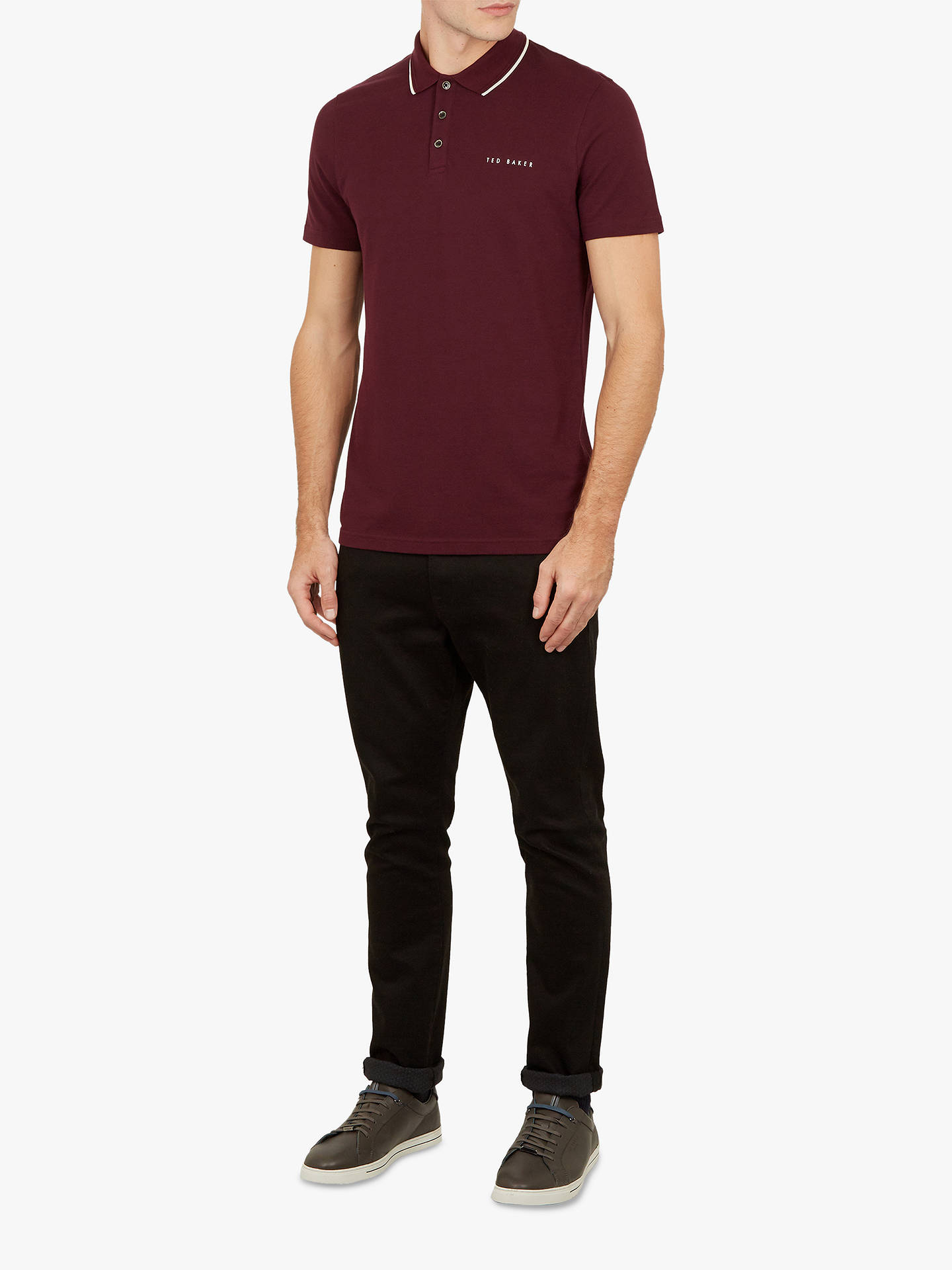 Buy Ted Baker Bloko Branded Pique Polo Shirt, Purple, XS Online at johnlewis.com