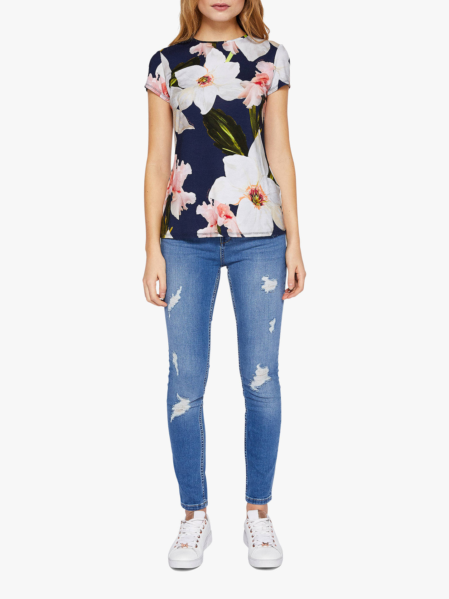 Buy Ted Baker Kimmle Ripped Skinny Jeans, Blue Mid, 32R Online at johnlewis.com