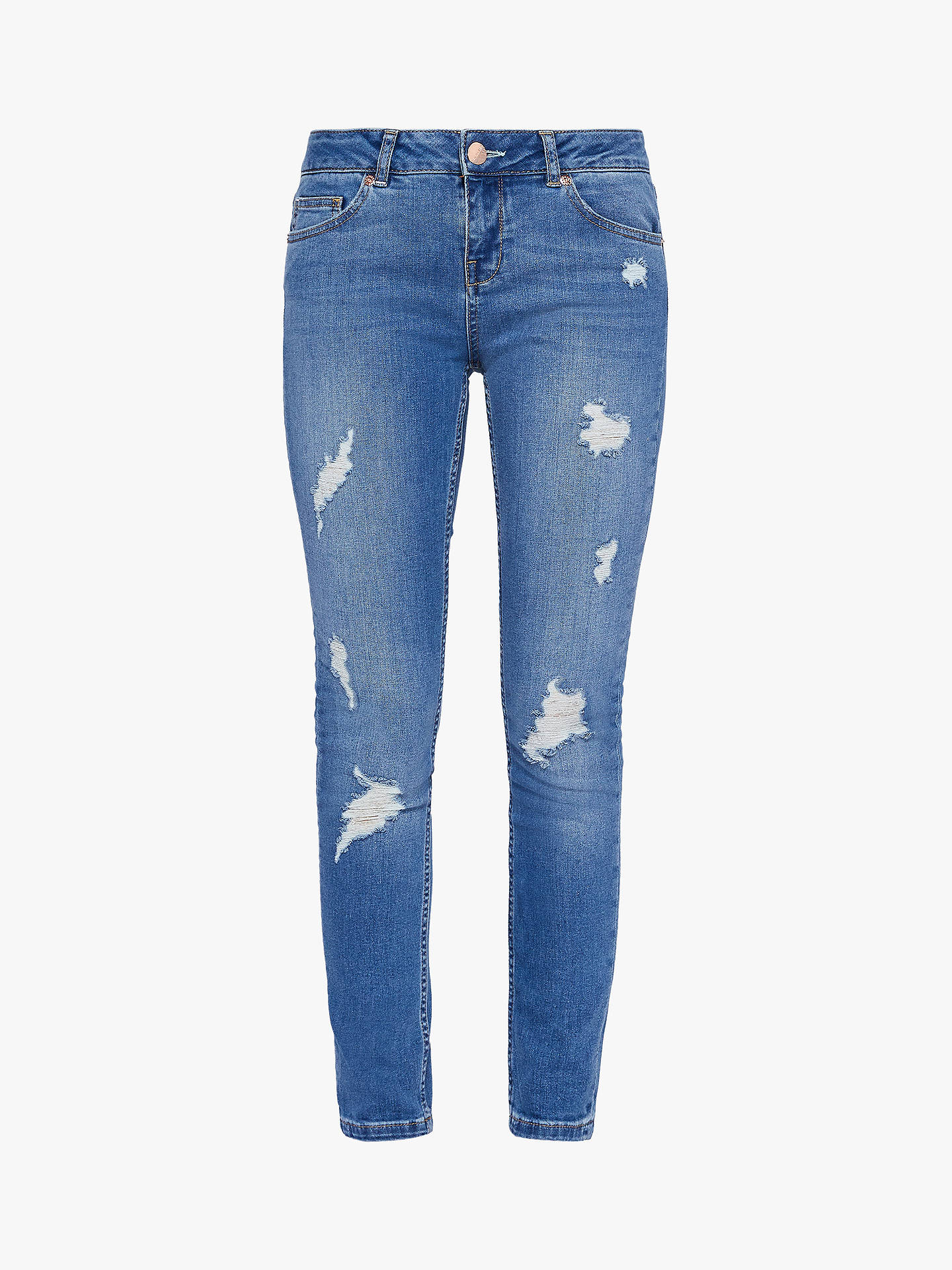 Buy Ted Baker Kimmle Ripped Skinny Jeans, Blue Mid, 26R Online at johnlewis.com